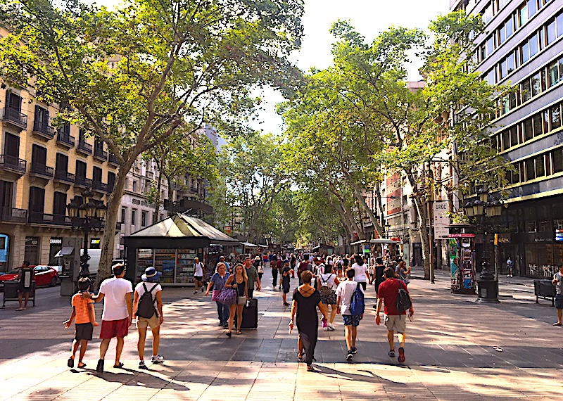 Strolling down Las Ramblas through the Old City